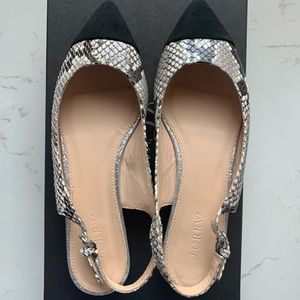 J crew pointed slingback flats in snake